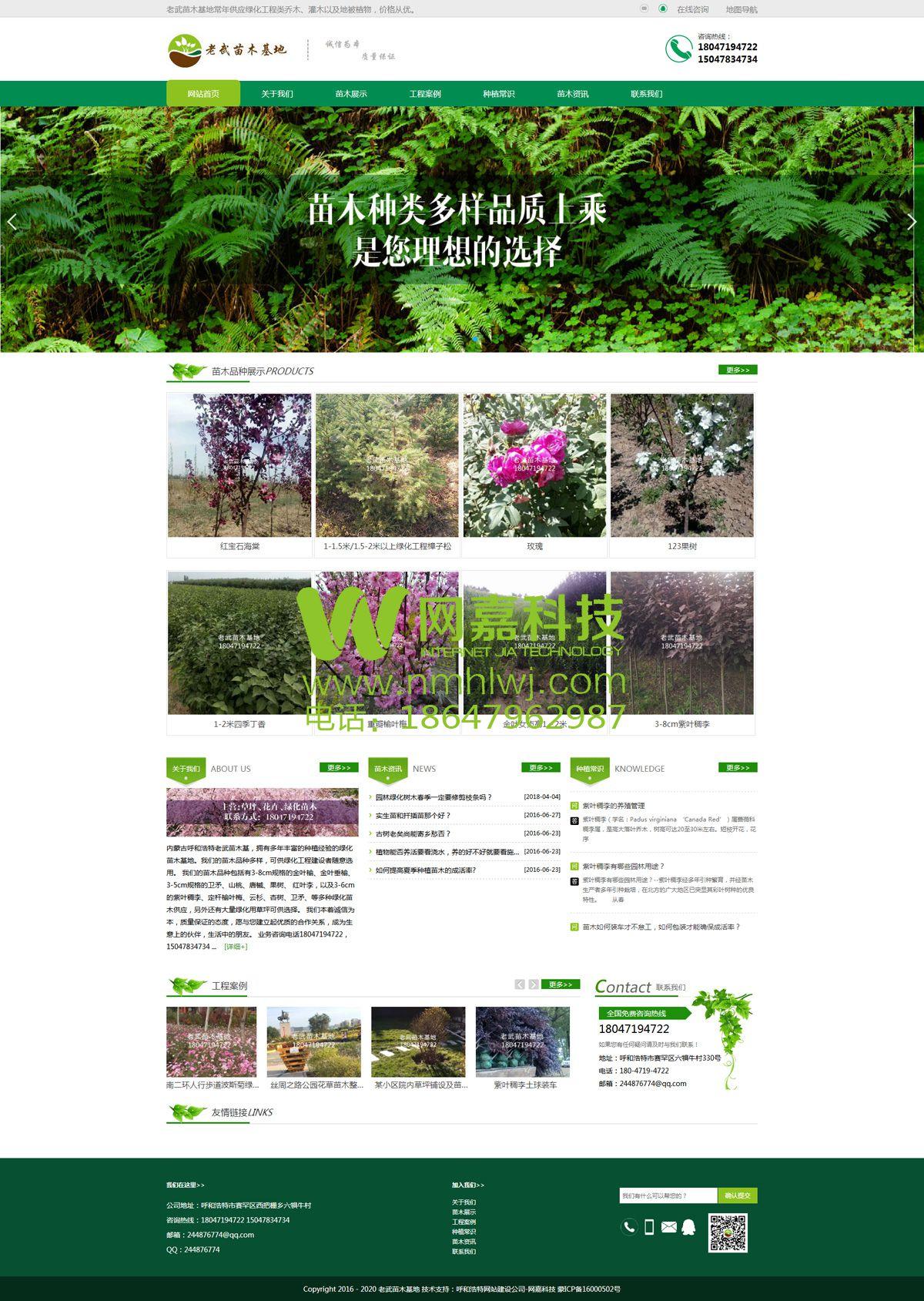 呼和浩特绿化苗木网站建设